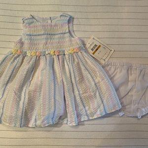 Multicolored seersucker baby girls dress